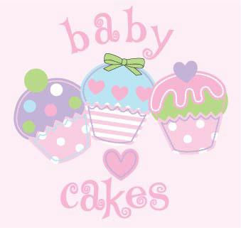 Girls sweet cupcake appliques