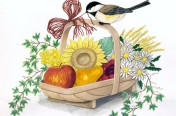 Bird on Flower Basket Watercolor