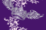 Silver foil winged crown screenprint for junior knit top.