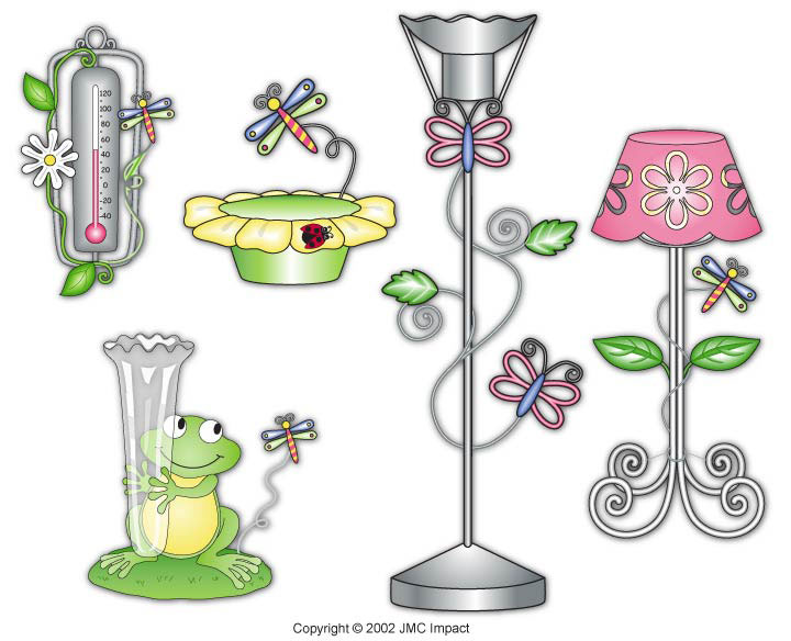 Garden accessory designs including thermometer, rain guage, bird feeder, and lamps.