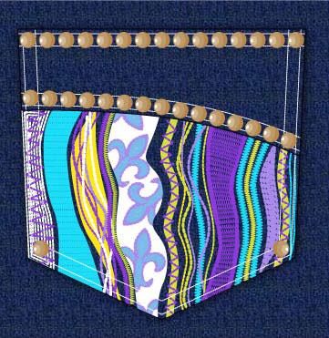Denim Pocket design with nailheads and colorful embroidery.