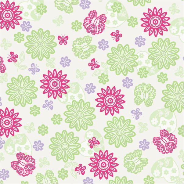 Flowers with Butterflies & Hearts Print
