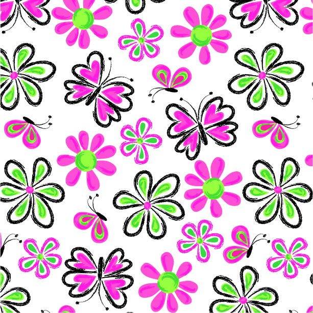 Loose Butterfly and Flower Print