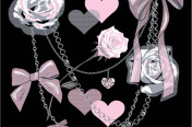 Photoreal screen print with roses, chains and bows for Junior apparel.