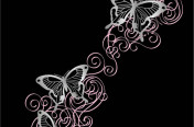 Silver Butterflies Scroll Screen