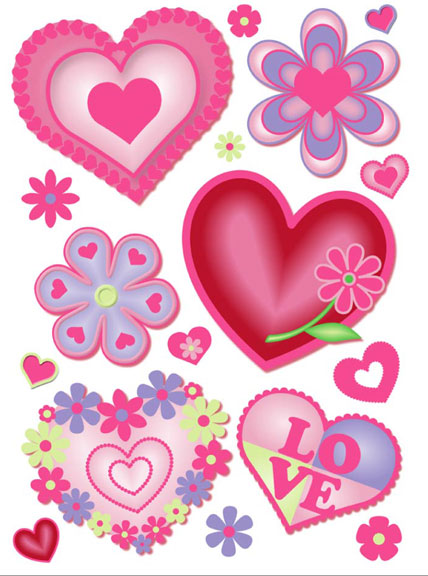 Hearts & Flowers Clings designs