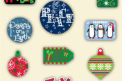 Christmas Graphics including Reindeer, Joy, Penguins, Peace, etc.