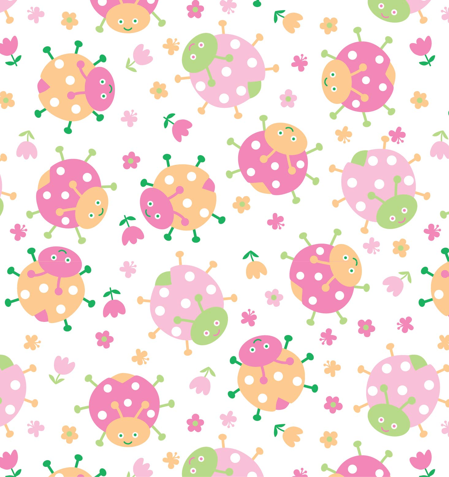 Colorful ladybugs print