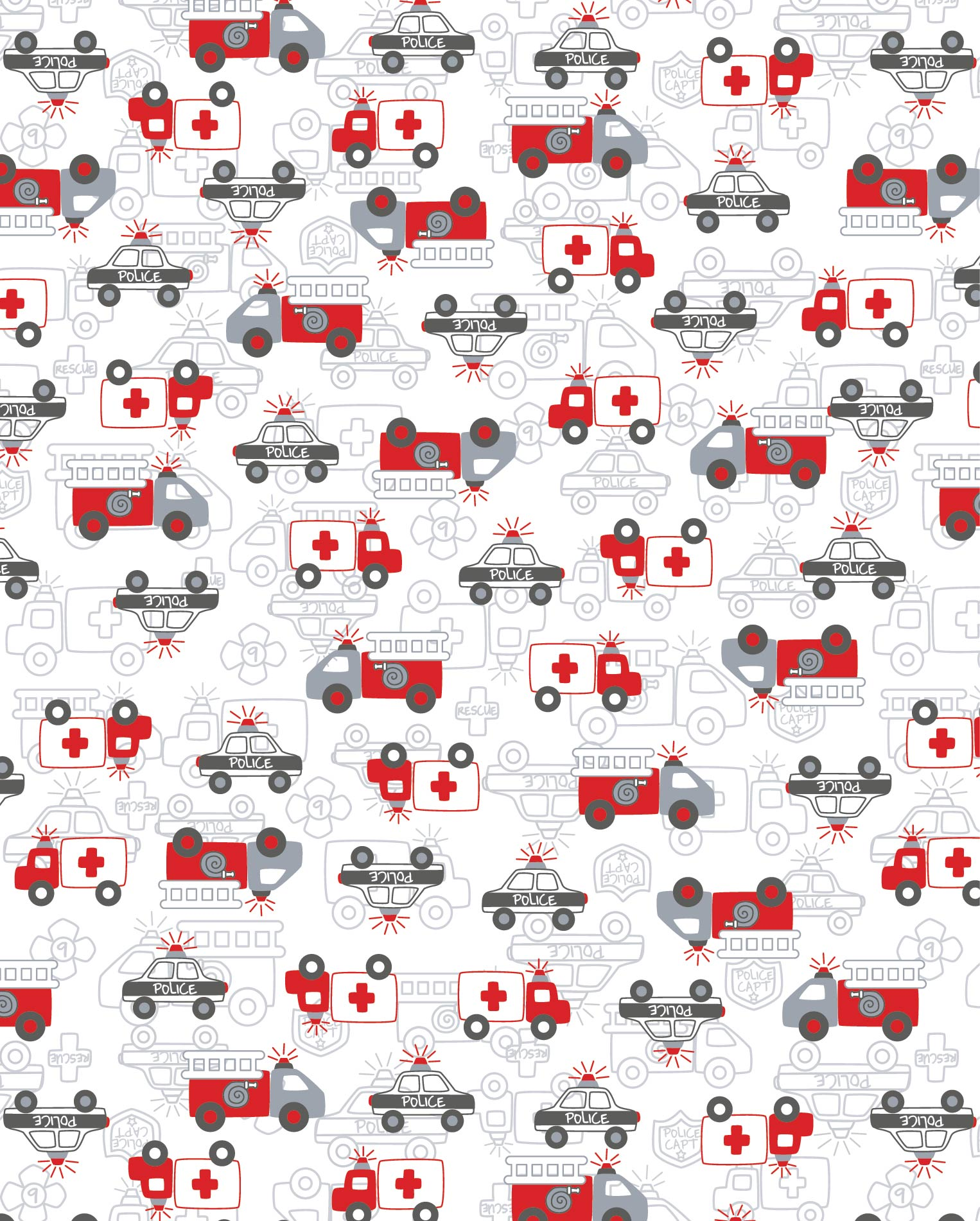 Rescue vehicle print for Layette.