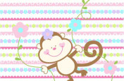 Girly Monkey on Ditsy Print Stripe